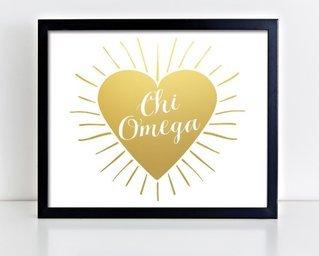 Chi Omega Heart Burst Foil Print