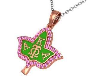 Alpha Kappa Alpha Ivy Leaf Silver Necklace