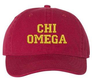Chi Omega Pigment Dyed Baseball Cap