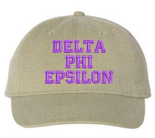 Delta Phi Epsilon Pigment Dyed Baseball Cap