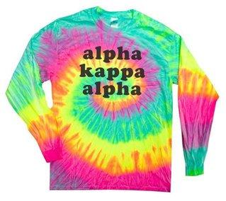 Alpha Kappa Alpha Tie-Dye Minty Rainbow Long-Sleeve T-Shirt