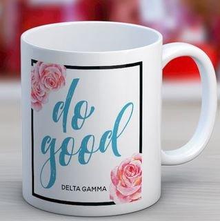 Delta Gamma Floral Motto Coffee Mug