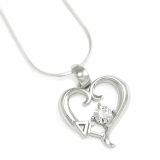 Delta Gamma Sterling Silver Heart Pendant with Swarovski Clear Crystal
