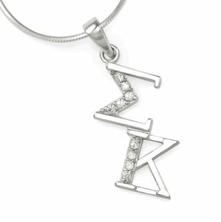 Sigma Kappa Sterling Silver Diagonal Lavaliere set with Lab-Created Diamonds