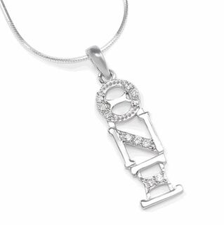 Theta Nu Xi Sterling Silver lavaliere pendant with simulated diamonds