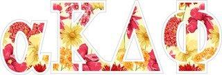 """alpha Kappa Delta Phi Floral Greek Letter Sticker - 2.5"""" Tall"""