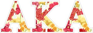 "Alpha Kappa Alpha Floral Greek Letter Sticker - 2.5"" Tall"