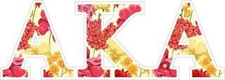 """Alpha Kappa Alpha Floral Greek Letter Sticker - 2.5"""" Tall"""