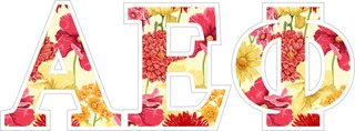 "Alpha Epsilon Phi Floral Greek Letter Sticker - 2.5"" Tall"