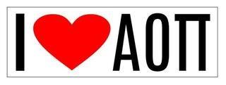 Alpha Omicron Pi I Love Bumper Sticker