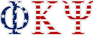"Phi Kappa Psi American Flag Greek Letter Sticker - 2.5"" Tall"