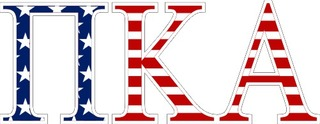 "Pi Kappa Alpha American Flag Greek Letter Sticker - 2.5"" Tall"