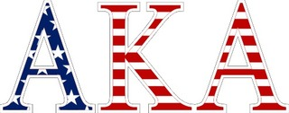 "Alpha Kappa Alpha American Flag Greek Letter Sticker - 2.5"" Tall"