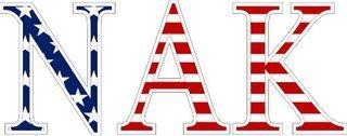 """Nu Alpha Kappa American Flag Greek Letter Sticker - 2.5"""" Tall"""