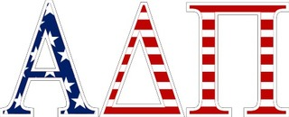 "Alpha Delta Pi American Flag Greek Letter Sticker - 2.5"" Tall"