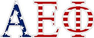 "Alpha Epsilon Phi American Flag Greek Letter Sticker - 2.5"" Tall"