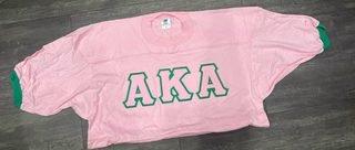 The New Super Savings - Alpha Kappa Alpha Lettered Ringer Shirt - PINK 1 of 5