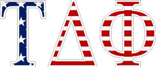 "Tau Delta Phi American Flag Greek Letter Sticker - 2.5"" Tall"
