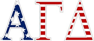 "Alpha Gamma Delta American Flag Greek Letter Sticker - 2.5"" Tall"