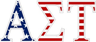 "Alpha Sigma Tau American Flag Greek Letter Sticker - 2.5"" Tall"