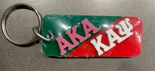 New Super Savings - Alpha Kappa Alpha and Kappa Alpha Psi Keychain - GREEN AND RED
