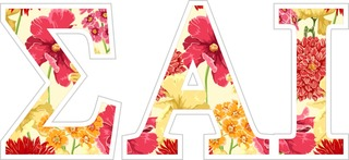 "Sigma Alpha Iota Floral Greek Letter Sticker - 2.5"" Tall"