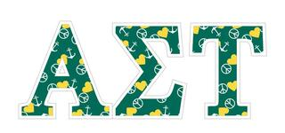 "Alpha Sigma Tau Mascot Greek Letter Sticker - 2.5"" Tall"