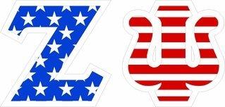 """Zeta Psi Giant 4"""" American Flag Greek Letter Sticker"""