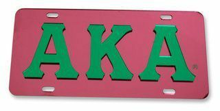 Alpha Kappa Alpha Raised Letter Plate - Mirrored