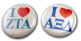 I Love Mini Sorority Buttons