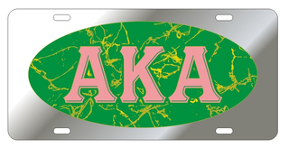 Alpha Kappa Alpha Marble Oval License Plate, Silver