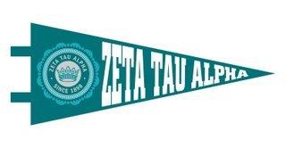 Zeta Tau Alpha Pennant Decal Sticker
