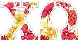 "Chi Omega Floral Greek Letter Sticker - 2.5"" Tall"
