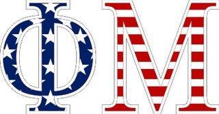"Phi Mu American Flag Greek Letter Sticker - 2.5"" Tall"