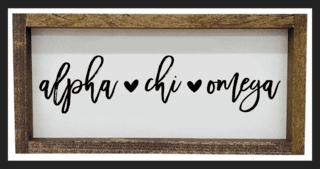 Alpha Chi Omega Script Wooden Signs