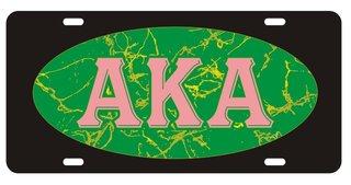 Alpha Kappa Alpha Marble Oval License Plate, Black