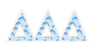 """Delta Delta Delta Mascot Greek Letter Sticker - 2.5"""" Tall"""