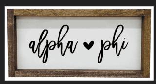 Alpha Phi Script Wooden Signs