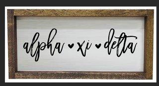 Alpha Xi Delta Script Wooden Signs