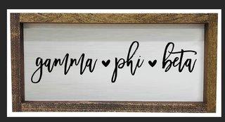 Gamma Phi Beta Script Wooden Signs