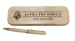 Alpha Phi Omega Maple Wood Pen Set