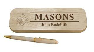 Masonic Maple Wood Pen Set
