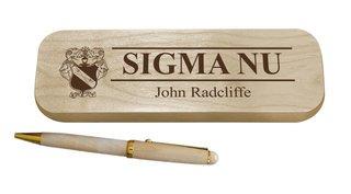 Sigma Nu Maple Wood Pen Set