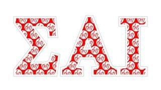 """Sigma Alpha Iota Mascot Greek Letter Sticker - 2.5"""" Tall"""