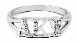 Alpha Kappa Psi Sterling Silver Ring set with Lab-Created Diamonds