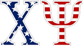 "Chi Psi American Flag Greek Letter Sticker - 2.5"" Tall"
