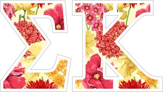 "Sigma Kappa Floral Greek Letter Sticker - 2.5"" Tall"