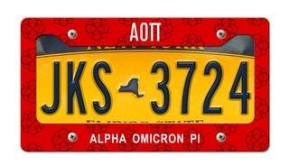 Alpha Omicron Pi New License Plate Frame