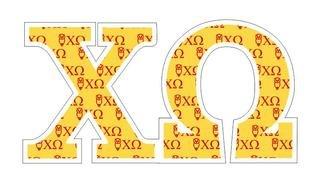"""Chi Omega Mascot Greek Letter Sticker - 2.5"""" Tall"""
