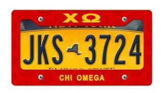 Chi Omega New License Plate Frame